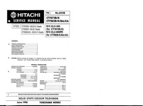 Hitachi CT925-1 Service Manual by download Mauritron #289705