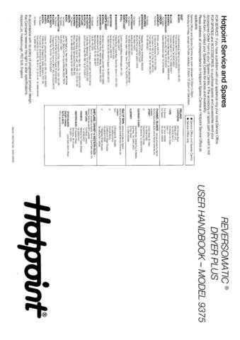 Hotpoint 9375 Dryer Operating Guide by download Mauritron #313397