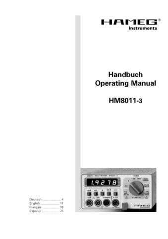 Hameg HM8011-3 Operating Guide by download Mauritron #307229