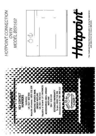 Hotpoint HBBS02(2) Operating Guide by download Mauritron #312075