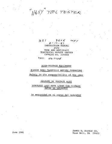 Biddle 23Jb Operating Guide by download Mauritron #309326