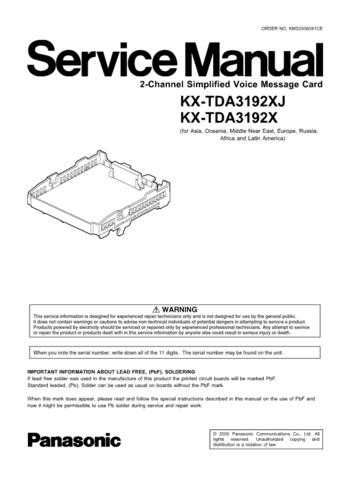 Panasonic TDA3192X Manual by download Mauritron #302216
