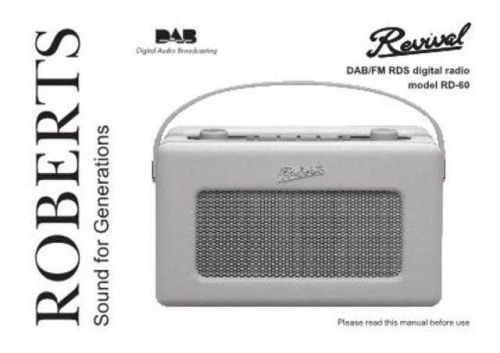 Roberts RD60 DAB Radio Operating Instruction Guide by download Mauritron #306680