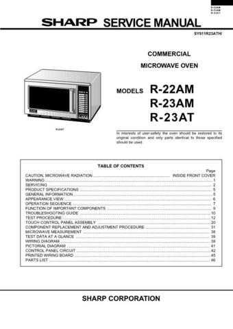Sharp R23AT Microwave Oven Service Manual by download Mauritron #306522