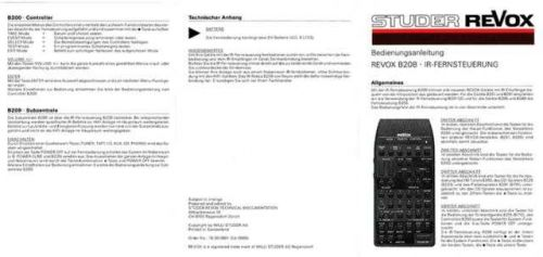 Revox B208 Operating Guide hr by download Mauritron #313025
