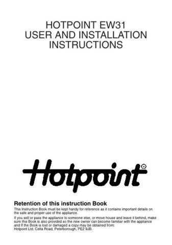 Hotpoint EW31 Operating Guide by download Mauritron #311992