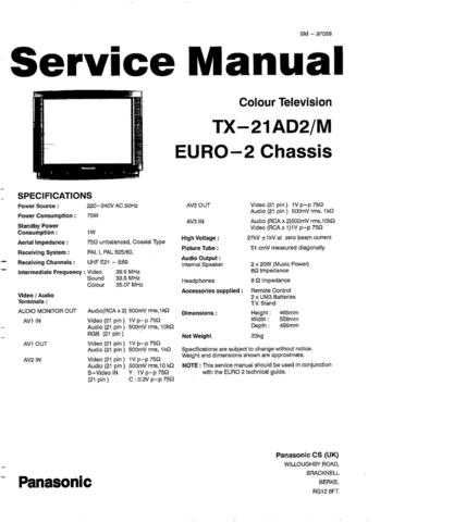 Panasonic TX-21-14JT1 Manual by download Mauritron #302470