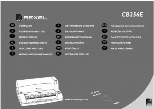 Rexel CB256E Operating Guide by download Mauritron #329762