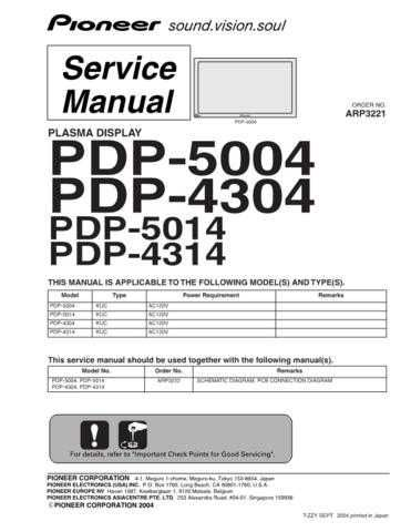 Panasonic PDP-5004 (2) Manual by download Mauritron #301087