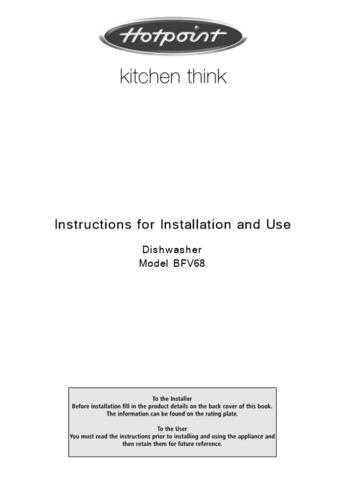 Hotpoint BFV680 04217501 Dishwasher Operating Guide by download Mauritron #313515