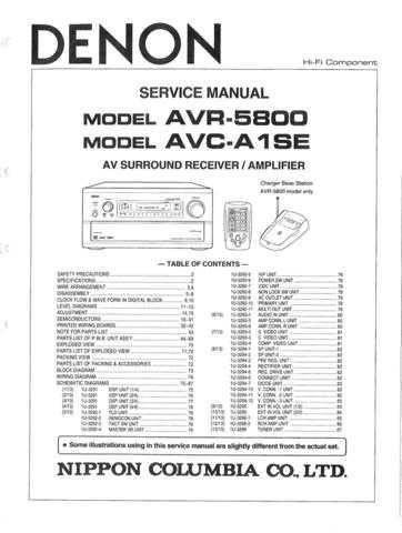 DENON av surround receiver amplifier AVR-5800_AVC-A1SE_SM_V01 by download Mauritron #