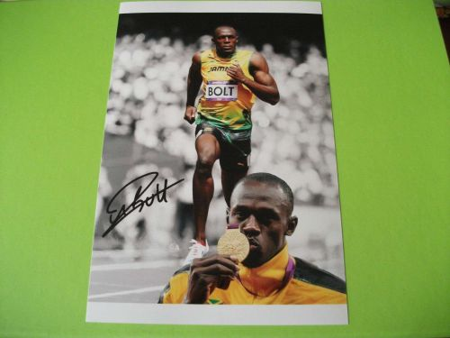 USAIN BOLT SIGNED PHOTO PRINT
