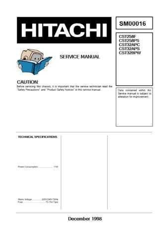 Hitachi CST258PC Service Manual by download Mauritron #289357