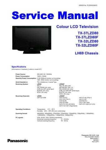 Panasonic TX37LZD80 Colour TV Service Manual by download Mauritron #306156