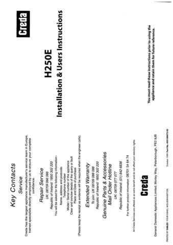 Creda H250 Operating Guide by download Mauritron #312858