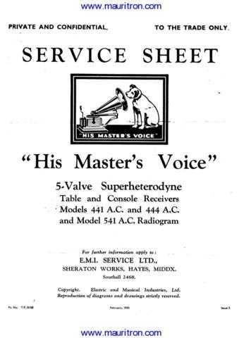 HMV. 444AC. Service Sheets Set. by download Mauritron #307370
