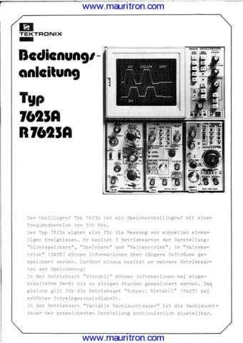 Tektronix 7623A 1 Manual by download Mauritron #312680