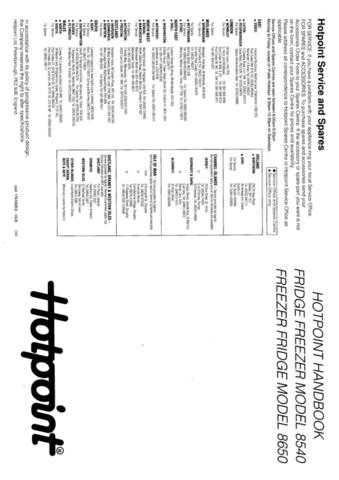 Hotpoint 8540 Refrigeration Operating Guide by download Mauritron #313352