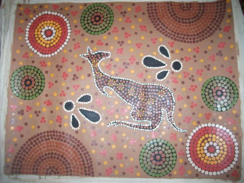 Aboriginal painting Kangeroo dreaming canvas. aboriginal culture