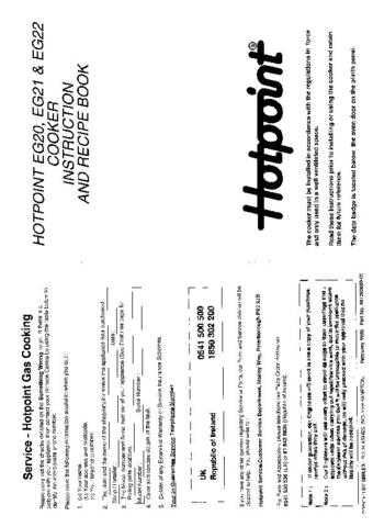 Hotpoint HBEG22 Operating Guide by download Mauritron #312088
