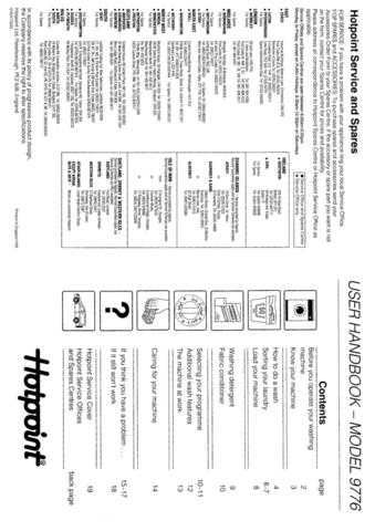 Hotpoint 9776 Washer Operating Guide by download Mauritron #313447