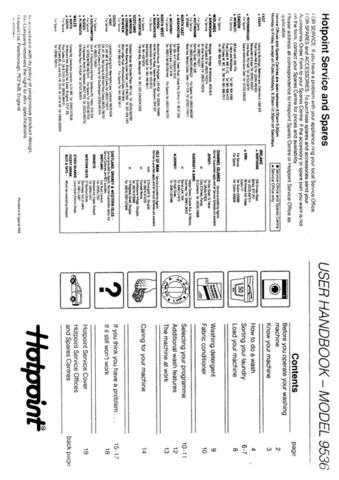 Hotpoint 9536 Laundry Operating Guide by download Mauritron #313417