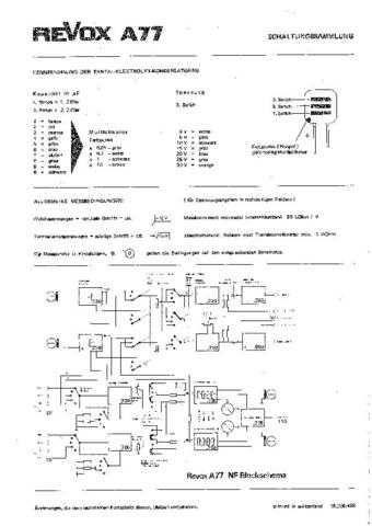 Revox A77 Circuit Diagram Schematics 68-04 by download Mauritron #312199