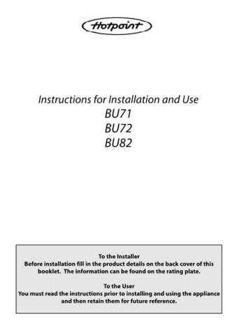 Hotpoint BU71 72 82 b4Jul03 486620016803(3) Operating Guide by download Mauritron #31