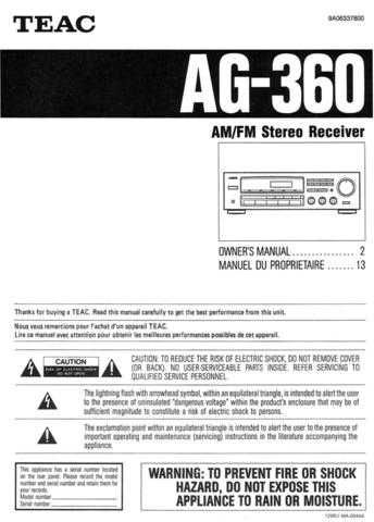 Teac AG360EF Operating Guide by download Mauritron #318254