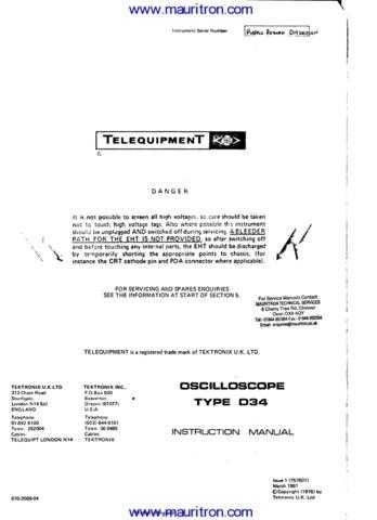 Telequipment D34 Manual by download Mauritron #312690