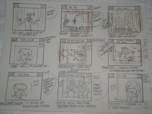 Collectable Cartoon 'BRADY KIDS' story board