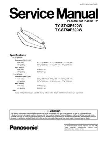 Panasonic TY-SP65PV600 Manual by download Mauritron #302559