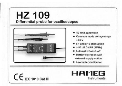 Hameg HZ109 Operating Guide by download Mauritron #307315