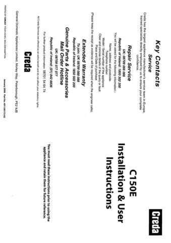 Creda C150 Operating Guide by download Mauritron #312815