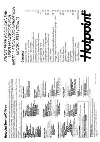 Hotpoint 8931 Refrigeration Operating Guide by download Mauritron #313374