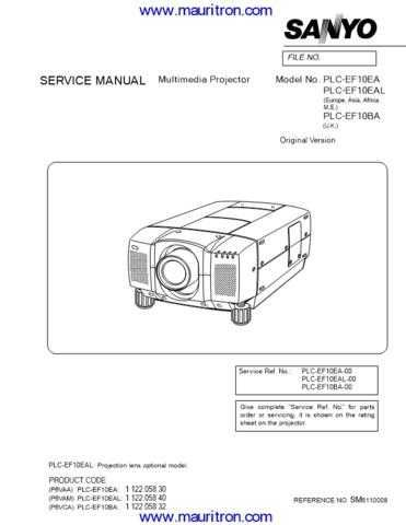 SANYO. PLC-EF10. CDC-893. Manual by download Mauritron #312630