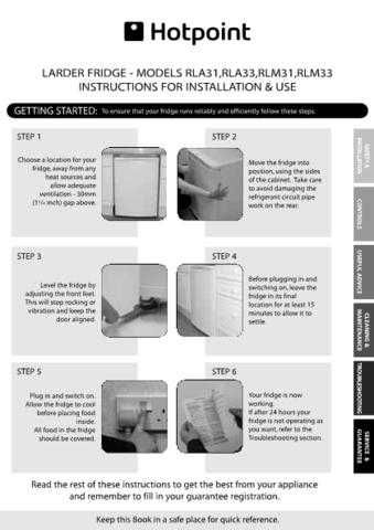 Hotpoint RLA31 33 19504510601 Refrigeration Operating Guide by download Mauritron #31