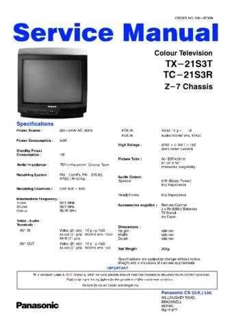 Panasonic TX-21MD4 Manual by download Mauritron #302480