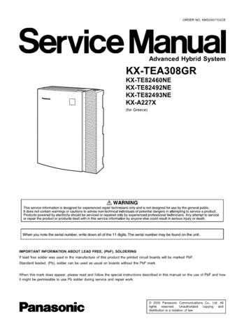 Panasonic TEA308GR Manual by download Mauritron #302237