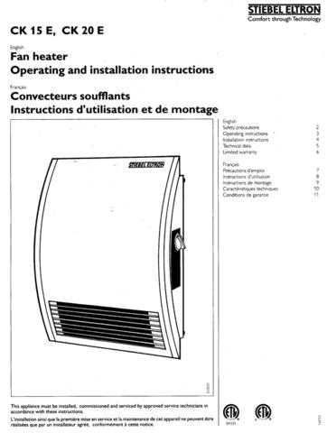 Honeywell Stiebeleltron Ckmanual by download Mauritron #318097