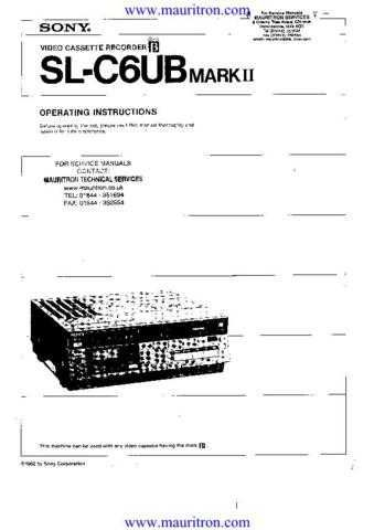 SONY SLC6UB Operating Guide Technical Info by download Mauritron #315828