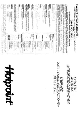 Hotpoint BF-I62 Dishwasher Operating Guide by download Mauritron #313496