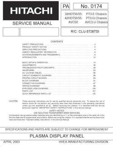Hitachi 32HDT55 Service Manual by download Mauritron #284741