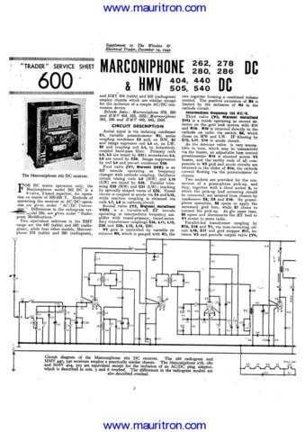 MARCONI. 278DC. Vintage. Service Information. Manual by download Mauritron #312541