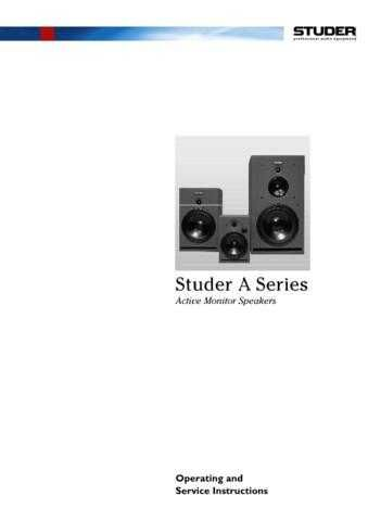 Studer A810 Operating Guide Service Manual_F by download Mauritron #313203