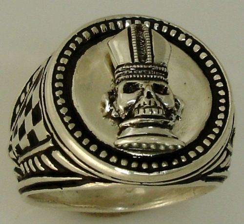 Bishop Chess piece Mens Signet ring Sterling Silver