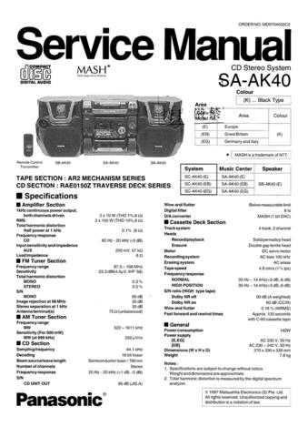 Panasonic SA-AK330EG Manual by download Mauritron #301665