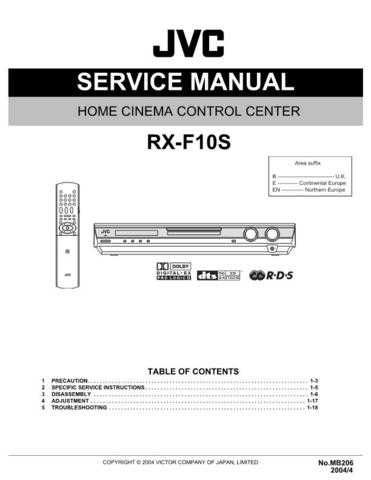 JVC RX-F10S Service Manual by download Mauritron #283302