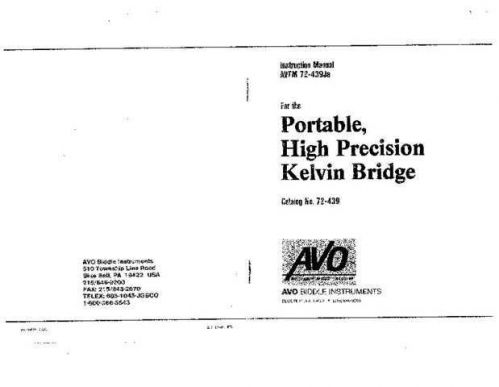 Biddle AVTM-810130 Operating Guide by download Mauritron #309494