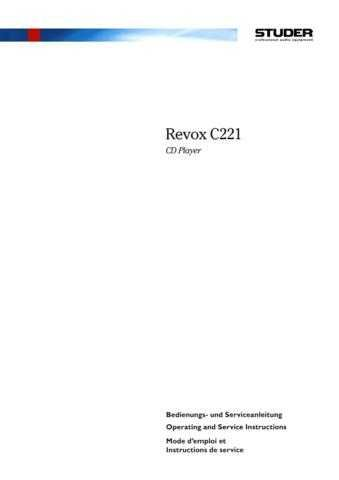 Revox C221 Operating Guide Service Manual by download Mauritron #313043